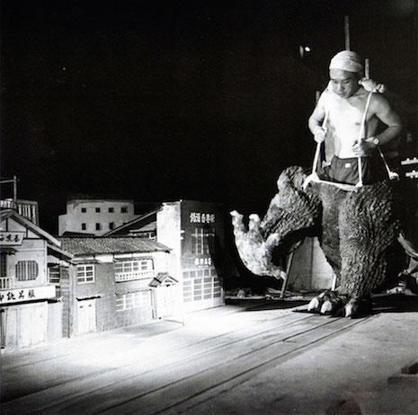 Haruo Nakajima behind the scenes.