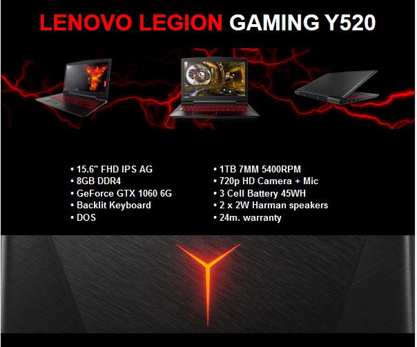 Lenovo Legion Gaming Y520 на попуст!