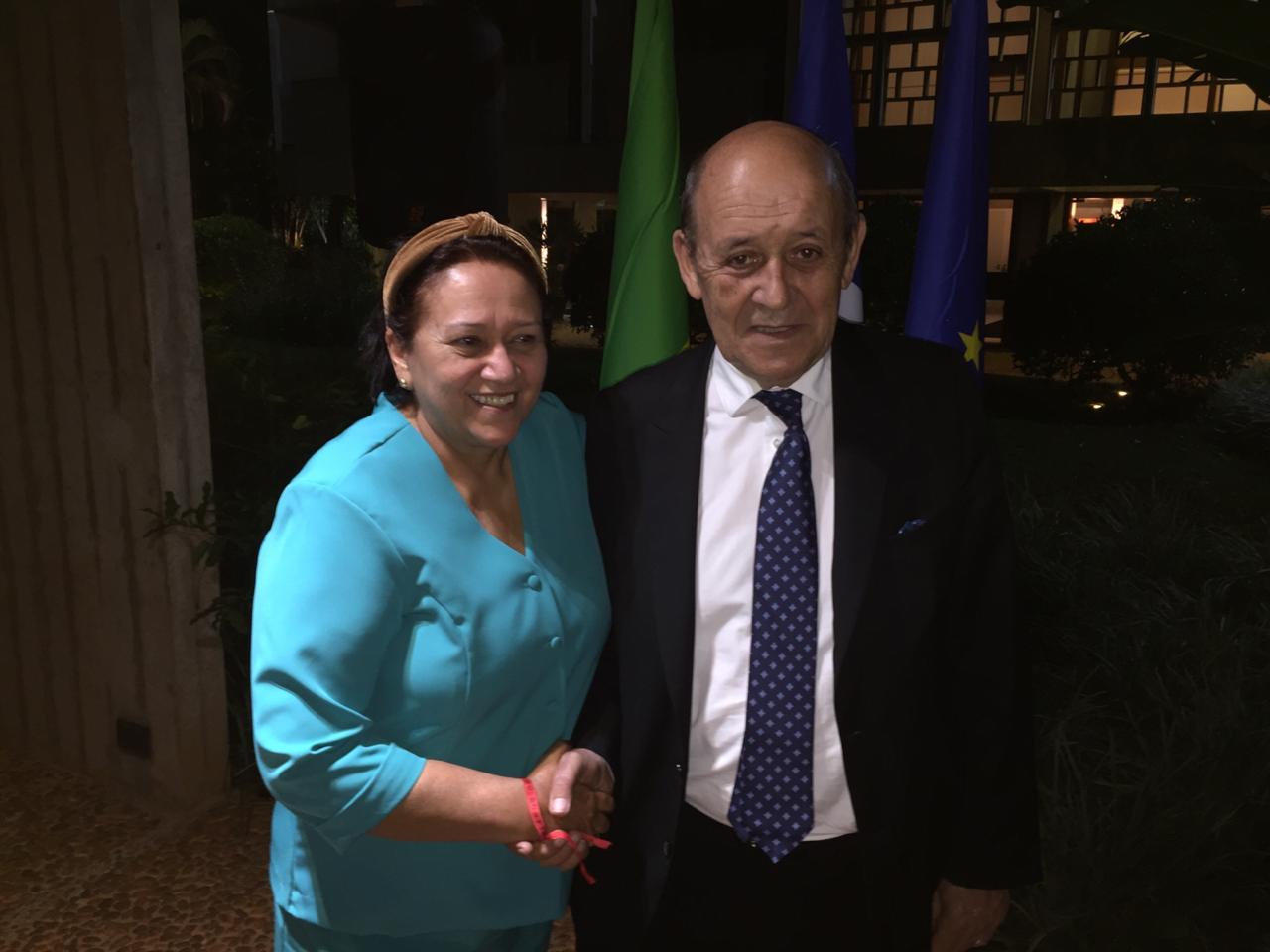 Governadora Fátima e o ministro francês dos Negócios Estrangeiros, Jean-Yves Le Drian