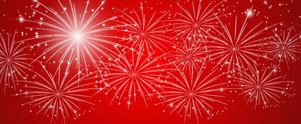 White Fireworks displayed on red background