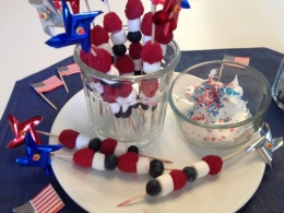 Red, White and Blue Fruit Skewers with Whipped Topping for Dipping