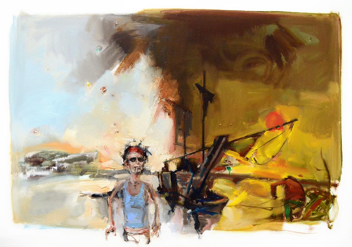 Piraten in der Elsterbucht, 100 x 70 cm, Öl/LW, 2014