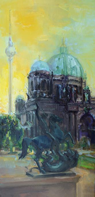 Dom Berlin, 40 x 90 cm, Öl/LW, 2014