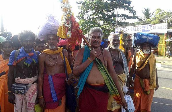 Pada Yatra pilgrims at Arayampathy, Ampara District, Sri Lanka