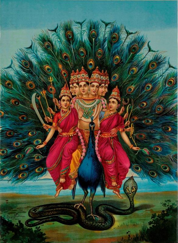 Raja Ravi Varma pintura de Sri Swami Shanmukha Subrahmanya