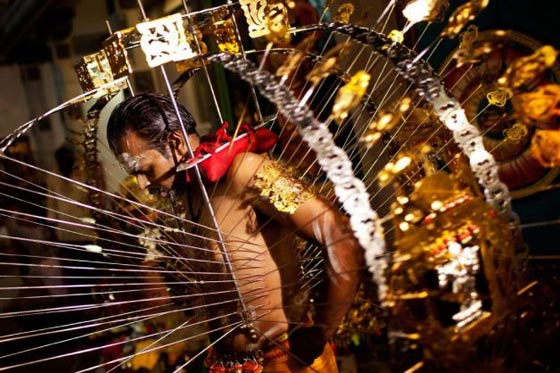 A devotee has his body pierced with hooks before taking part in the Thaipusam procession at Sri Srinivasa Perumal Temple on February 7, 2012 in Singapore  Read more: http://www.seattlepi.com/national/article/Hindu-Thaipusam-festival-3154238.php#ixzz2IiwO6Okq