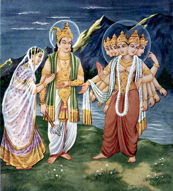 Indra presents daughter Devasena to Lord Shanmukha