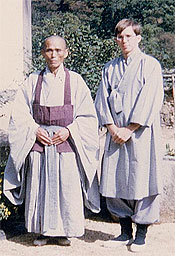 Patrick Harrigan (right) with Dae Gak at Bumu-sa Zen Monastery, Korea 1970