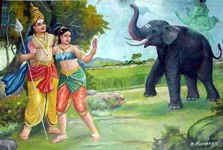At that moment, Murugan invoked the help of his brother Vināyaka who appeared behind Valli in the shape of a frightening elephant. The terror-stricken girl rushed into the arms of the elderly ascetic for protection.