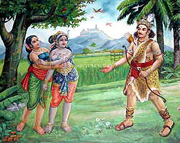 Murugan approaches Valli Amma in the form of a young vedar.