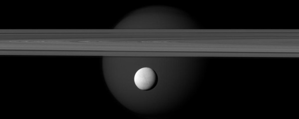 Titan and Tethys on the rings of Saturn