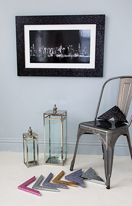 Black and white picture framed in our 82mm black Glitter moulding