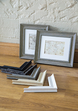 Two map prints framed in the Wexford range plus chevrons
