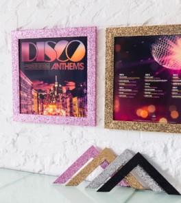 Disco prints framed in Glitter range
