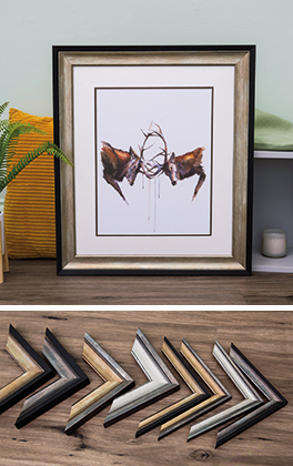 Watercolour print of stags fighting framed in Mainline's Washington moulding