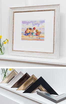 Painting of children on the beach framed in Mainline's matt white Symphony moulding