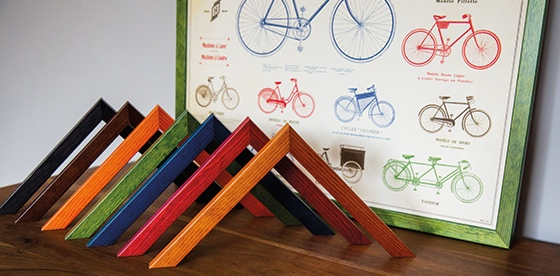 Mainline's Elements Colours chevrons and bicycle picture framed in green