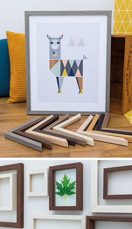 Fun painting of llama framed in Mainline's versatile Loft range; blank frames showing new cream and brown colours