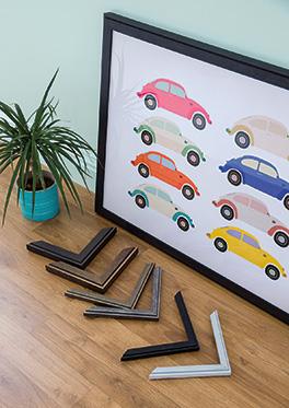 Beetle cars pop art framed in Mainline's Aranza range