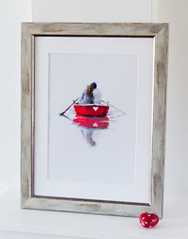 Romantic couple in rowing boat framed in Mainline's stylish Vermont range