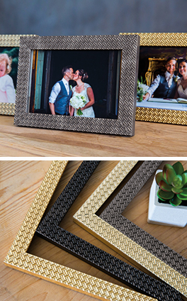 Wedding photos framed in Mainline's Otto range plus Otto chevrons
