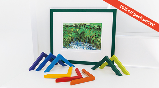 Brightly coloured frame mouldings surrounding picture framed in Mainline's dark green Colour Cubes moulding
