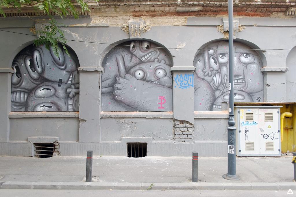 Un-hidden Bucharest street art intervention Pisica Pătrată @ M60