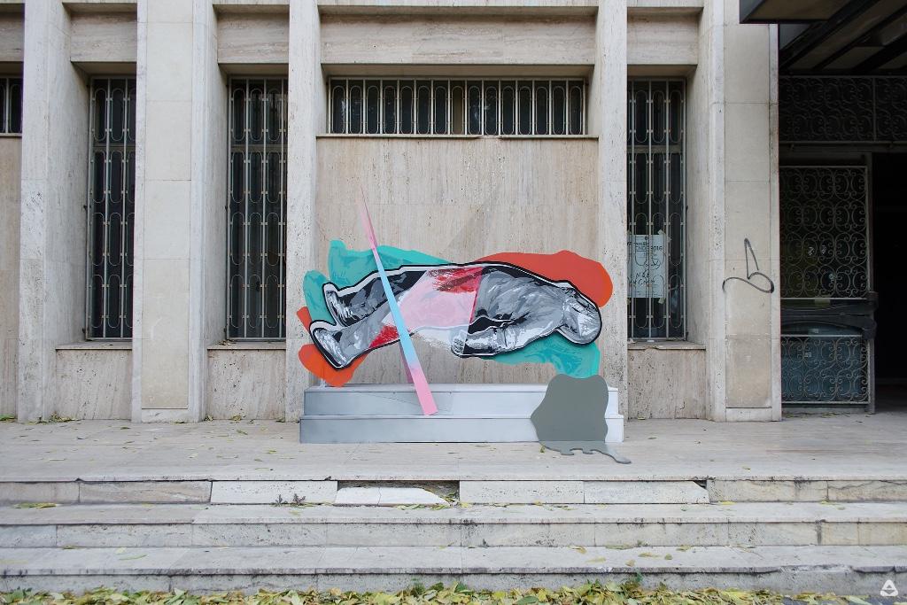 Un-hidden Bucharest street art intervention John Dot S Sens @ Sala Omnia, CNDB