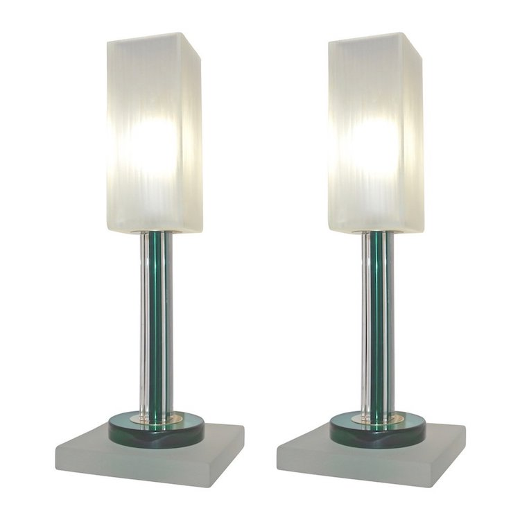 venini-vintage-green-pair-of-table-lamps-with-white-frosted-murano-glass-shades