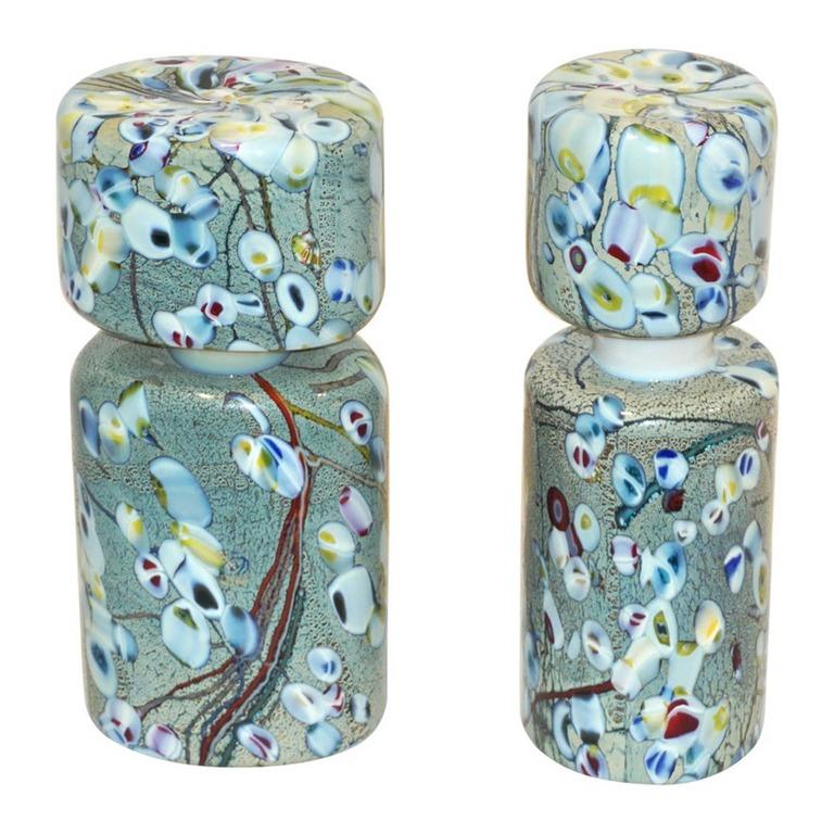 pino-signoretto-silver-green-murano-glass-bottles-756pa