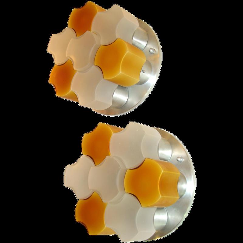 white-orange-glass-flush-mounts