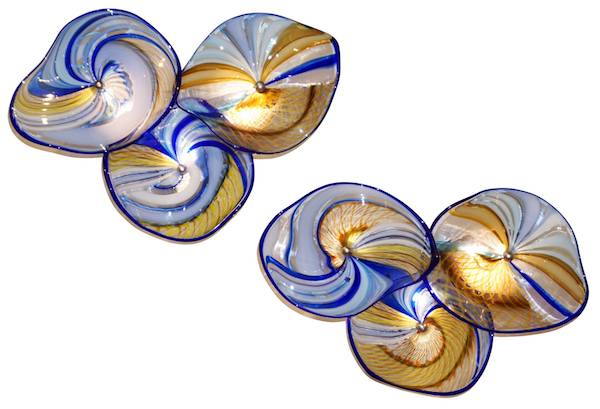 italian-pair-gold-blue-white-yellow-murano-glass
