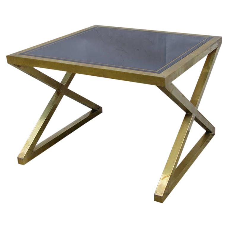 Italian-Modern-X-Frame-Handcrafted-Brass-Black-Glass-Coffee-Table