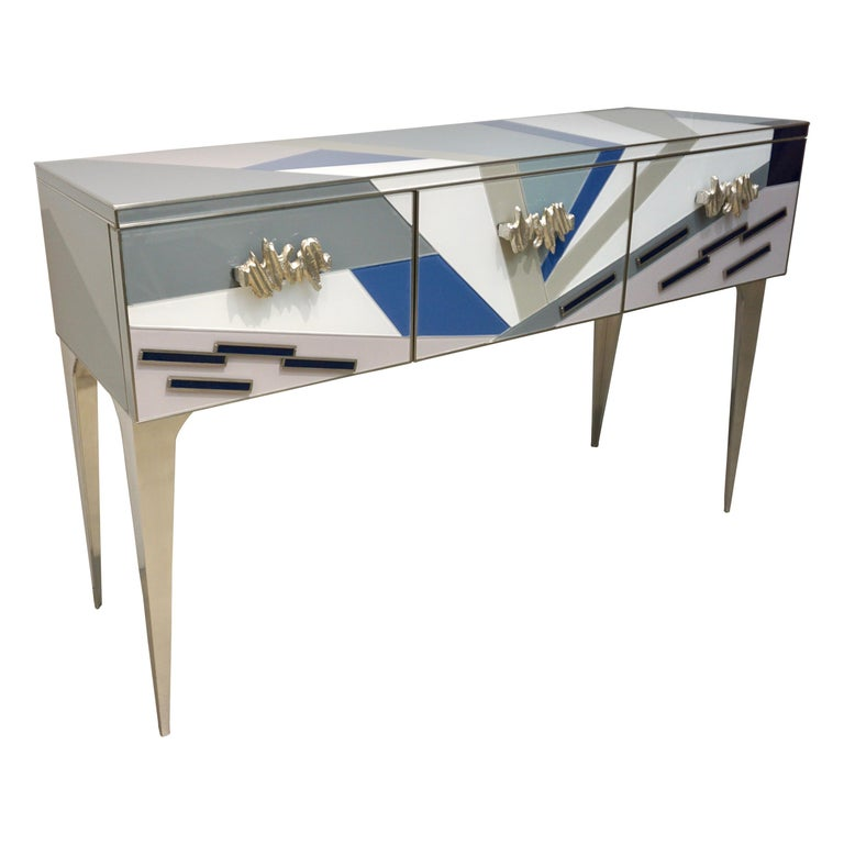 Contemporary-Italian-Pop-Design-Pastel-Colored-Glass-Sideboard-Nickel-Legs