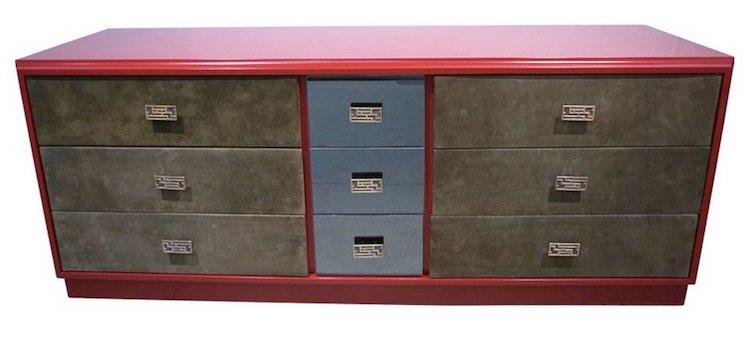 vintage-green-leather-burgundy-sideboard