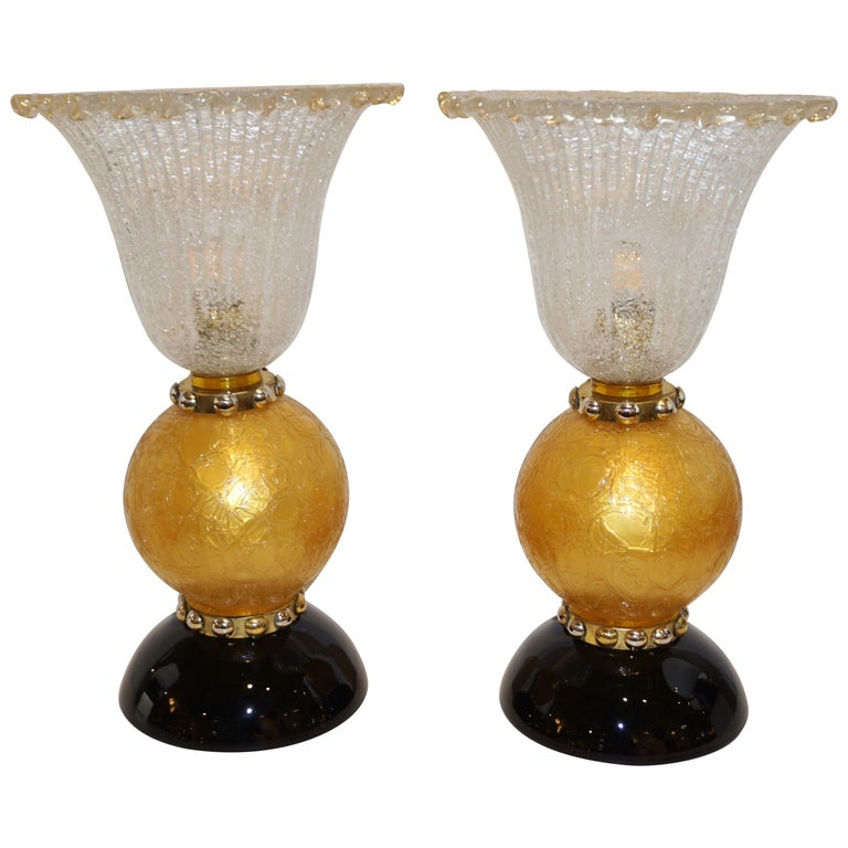 italian-art-deco-gold-black-lamps-barovier-murano-glass-807pa