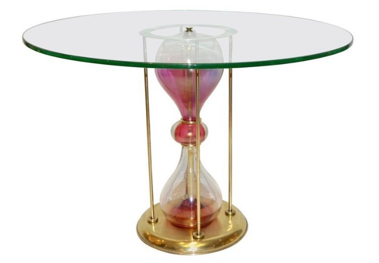 italian-brass-and-pink-glass-round-end-table