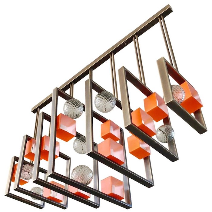 bronze-cubic-chandelier-orange-murano-glass-cubes