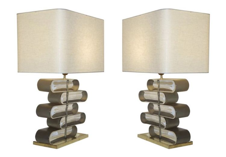 italian-modern-bronze-murano-glass-lamps
