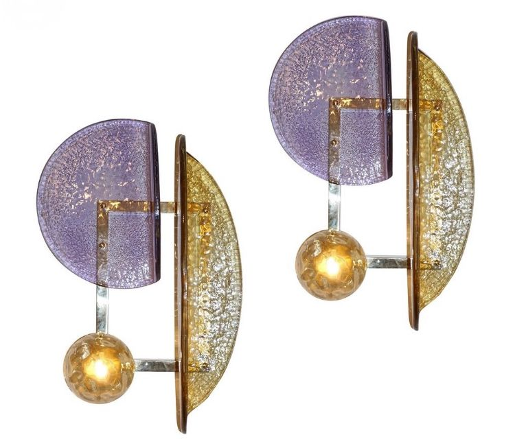 contemporary-amber-murano-glass-sconces