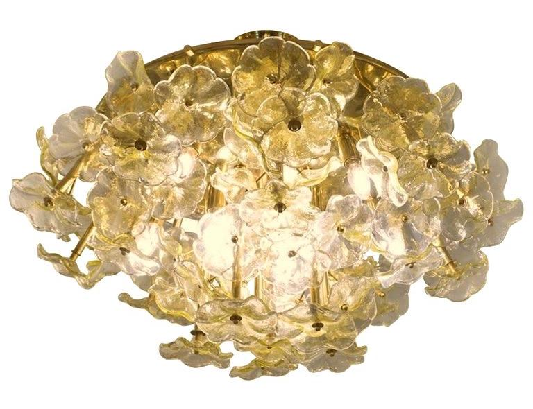 1970s-italian-buttercup-yellow-murano-glass-flower-brass-chandelier-flush-mount-807pc