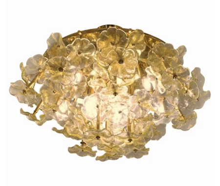 1970s-italian-buttercup-yellow-murano-glass-flower-brass-chandelier-flush-mount