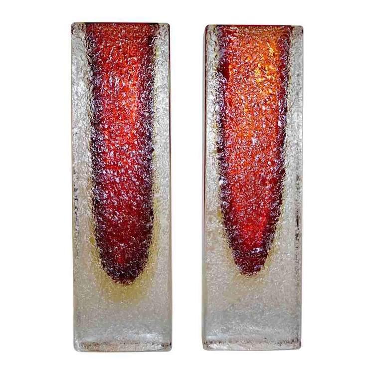 1950-italian-pair-of-organic-crystal-yellow-red-murano-art-glass-vases