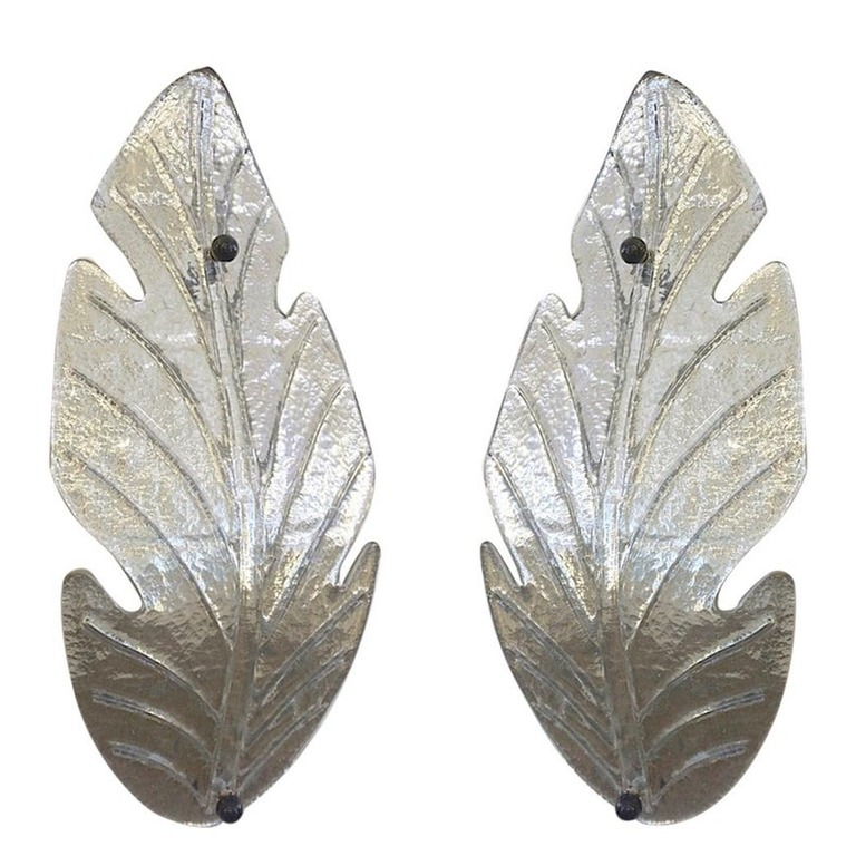 1980-Italian-Vintage-Nickel-Pair-Tall-Silver-Color-Murano-Glass-Leaf-Sconces