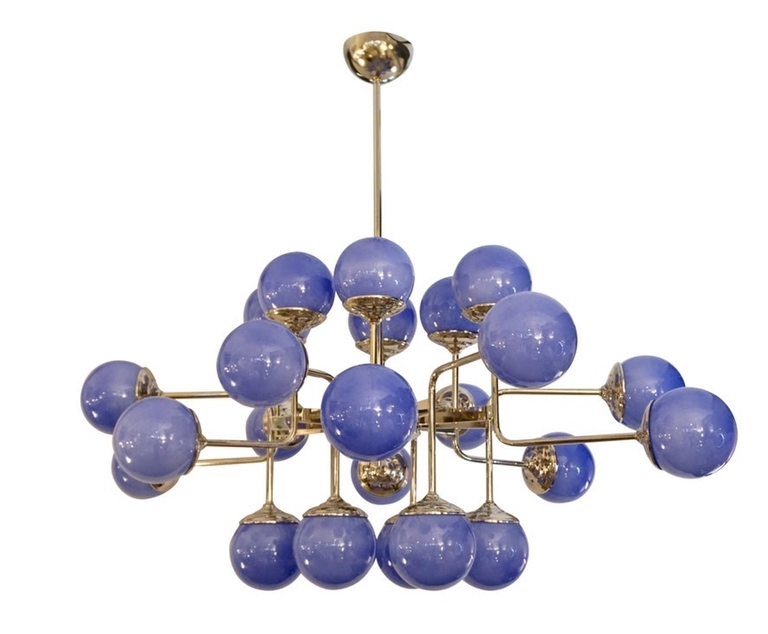 Italian-Modern-24-Light-Lavender-Periwinkle-Murano-Glass-Nickel-Chandelier