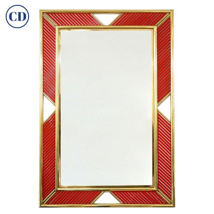 italian-modern-vintage-coral-murano-glass-brass-mirror