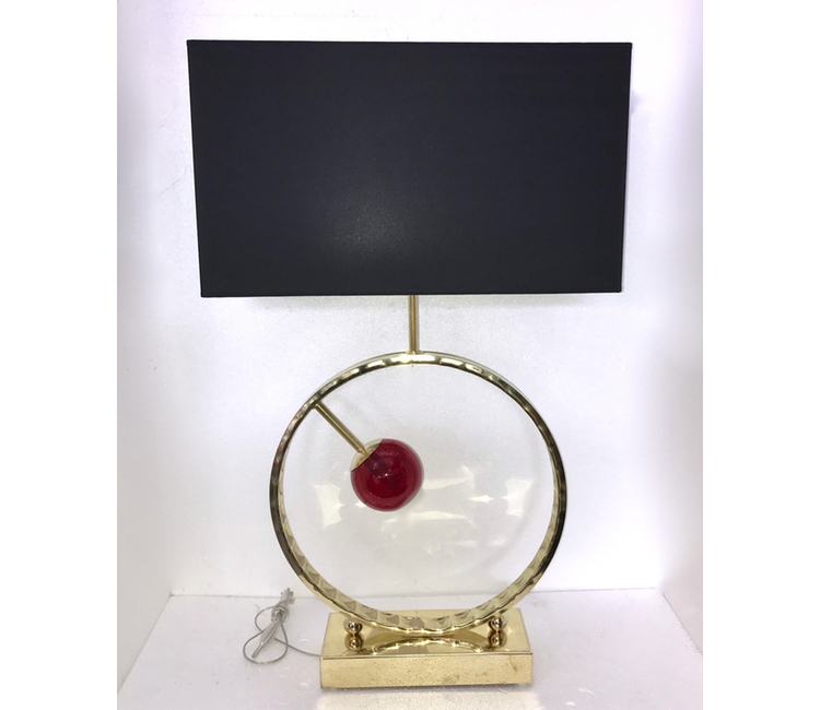 Contemporary-Brass-Lamp-Red-Sphere-decoration