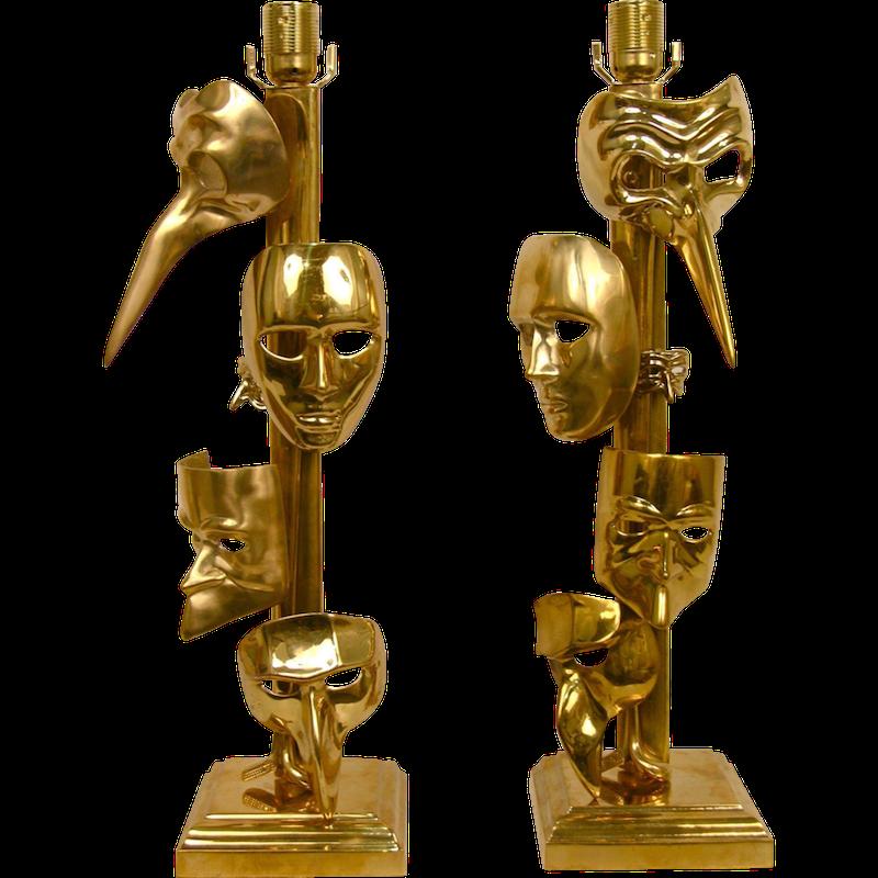 bronze-masks-lamps