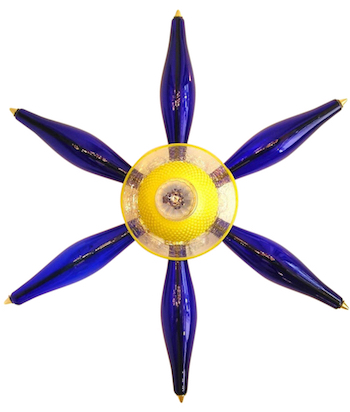 star-yellow-blue-glass-sconces