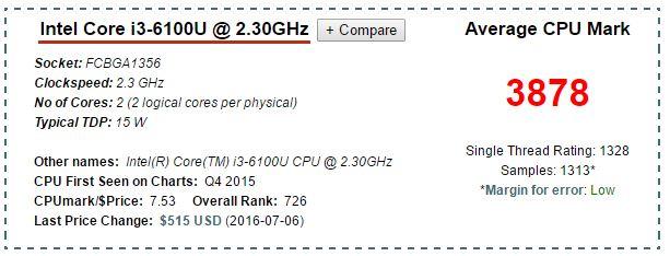 Processore Skylake mobile i36100U